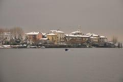 Dei Pescatori de Isola no inverno, lago Maggiore, Italia fotografia de stock royalty free