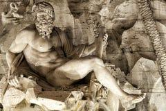 Dei Quattro Fiumi Ганга, Фонтаны аркада rome navona Италия Стоковые Изображения RF
