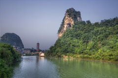 Deicai hill guilin guangxi china. Deicai hill and the wooden dragon lake stock photography