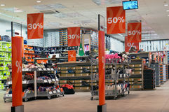 Deichmann shoes discounts. VILNIUS, LITHUANIA - DECEMBER 19, 2015: Deichmann shoes discounts in xmas Panorama hyper market. Brand established in 1913 by Henirich Royalty Free Stock Photo