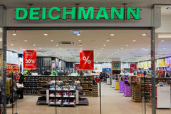 Deichmann shoes store. VILNIUS, LITHUANIA - DECEMBER 13, 2014: Deichmann shoes store in xmas Panorama hyper market. Brand established in 1913 by Henirich Stock Photography