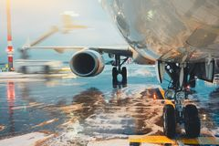 Deicing of the airplane. Airport in winter. Deicing of the airplane before flight Stock Photos