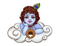 A deidade indiana é krishna na imagem de um rapaz pequeno Foto de Stock