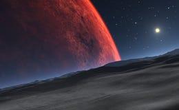 Deimos met de rode planeet Mars op de achtergrond vector illustratie