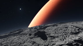 Deimos with the red planet Mars in the background Royalty Free Stock Photography