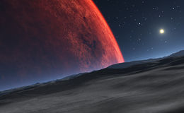 Deimos with the red planet Mars in the background Stock Image