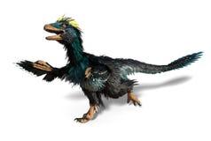 Deinonychus -与羽毛的恐龙 免版税库存照片