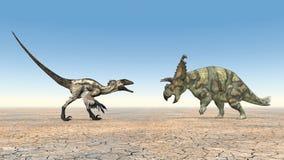 Deinonychus et Albertaceratops Illustration de Vecteur