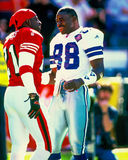 Deion Sanders and Michael Irvin. Former NFL greats and teammates Deion Sanders (21) and Michael Irvin (88). Image taken from color slide royalty free stock photos