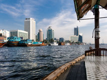 Deira skyline from abra water taxi on Dubai Creek Stock Image