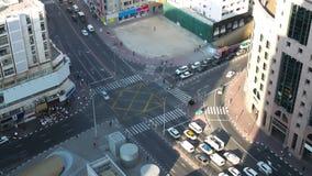 Deira traffic crossroad 4k time lapse from dubai stock video