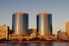 Deira Twin Towers in Dubai Creek Royalty Free Stock Photos