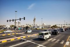 Busy intersection on the highway connecting Dubai to Sharjah. Deira, United Arab Emirates - May 03, 2017: Busy intersection on the highway connecting Dubai to Royalty Free Stock Photography