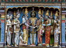 Deities on the exterior wall of the Sri Krishnan Temple (Hindu) in Singapore. Royalty Free Stock Photography