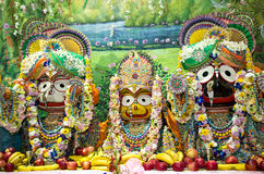 Deities: Jagannath with his elder brother Balabhadra and sister Stock Image