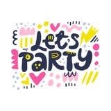 Deixa a ilustração do vetor das letras dos desenhos animados do partido ilustração stock
