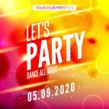 Deixa o cartaz do projeto do partido Molde do clube noturno Convite do partido da música do DJ ilustração do vetor