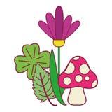 Deixa o fungo e as flores ilustração royalty free