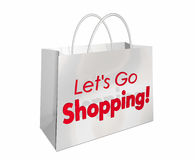 Deixa para ir palavras da venda da compra da loja do saco de compras Foto de Stock Royalty Free