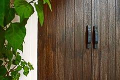 Deixa a Wenge portas que de madeira a porta segura o fundo da arquitetura foto de stock