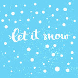 Deixais lhe para nevar - cartão do inverno com neve e mão brancas Imagens de Stock