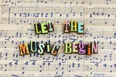 Deixe a música começar a jogar imagem de stock