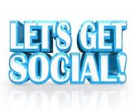 Deixe-nos começ o convite social das palavras 3D Party Imagem de Stock Royalty Free
