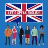 Deixe-nos falar o inglês ilustração stock