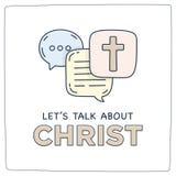Deixe-nos falar sobre a bolha do discurso do diálogo da ilustração da garatuja de Cristo ilustração do vetor