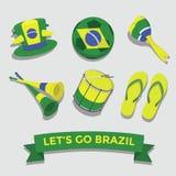 Deixe-nos ir ícone de Brasil para o grupo cheering do fã Fotografia de Stock