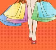 Deixe-nos ir comprar Ilustração Eps 10 do vetor estilo do pop art sexta-feira preta, venda sazonal do outono do inverno do verão  ilustração stock