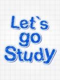 Deixe-nos ir estudo no azul sobre a folha esquadrada Imagem de Stock Royalty Free
