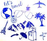 Deixe-nos viajar garatujas tiradas mão projetam no fundo branco ilustração do vetor