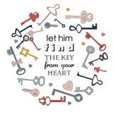 Deixe-o encontrar a chave de você cervo Imagem do vetor das chaves Rotulação do estilo dos desenhos animados Imagem de Stock