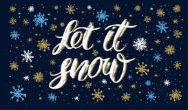 Deixe-o inscrição handlettering da neve imagens de stock