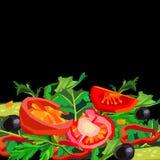 Deixe o ` s fazer uma salada! vegetariano vegetal orgânico do tomate saudável do alimento da salada ilustração stock