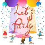 Deixe o ` s party no texto da fita ilustração stock