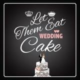 Deixe-os comer o projeto do bolo de casamento ilustração stock