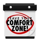 Deixe a seu calendário das palavras da zona de conforto a experiência nova ilustração do vetor