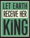 Deixe a terra receber seu rei Vintage Poster ilustração stock