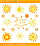 Dejáis le brillar/conjunto del icono del sol del vector Foto de archivo