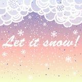 Dejáis le nevar Tarjeta brillante del vector hecha de copos de nieve Stock de ilustración