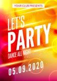 Deja el cartel del diseño del partido Plantilla del club de noche Invitación del partido de la música de DJ Fotografía de archivo