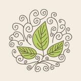 Deja el icono orgánico stock de ilustración