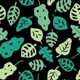 Deja el modelo inconsútil del vector Hojas en sombras del verde en un fondo negro Hojas tropicales dibujadas mano Hoja de la selv ilustración del vector