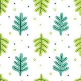 Deja el sistema plano Plantas tropicales del modelo inconsútil aisladas en el fondo blanco Floral verde simple de la naturaleza F ilustración del vector