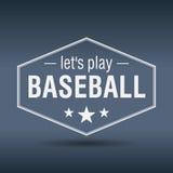 deja la etiqueta retra blanca hexagonal del estilo del béisbol del juego Fotografía de archivo