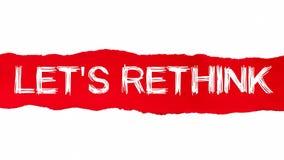 DEJA REPIENSAN la palabra escrita bajo pedazo encrespado de papel rasgado rojo stock de ilustración