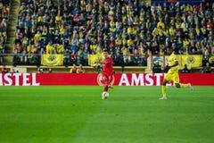 Dejan Lovren joue à la correspondance de demi-finale de ligue d'Europa entre le Villarreal CF et le Liverpool FC Photo stock