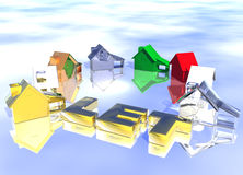 Deje el anillo del texto del oro de varios tipos de casas Imágenes de archivo libres de regalías